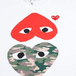 T-SHIRT CAMOUFLAGE UPSIDE DOWN HEART - WHITE