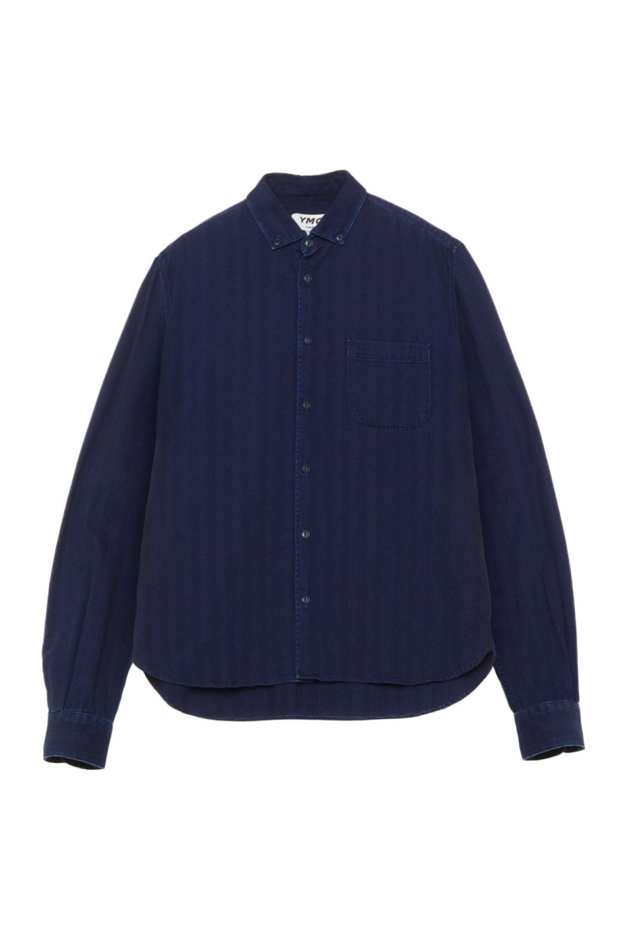 DEAN COTTON HERRINGBONE SHIRT INDIGO